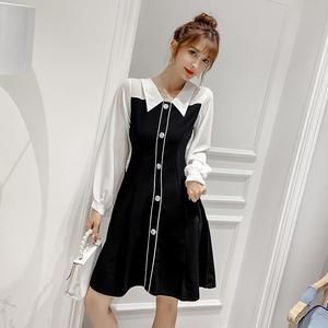 亚博娱乐平台入口韩国原单现货雪纺衫上衣连衣裙女气质仙女纽扣长裙裙子