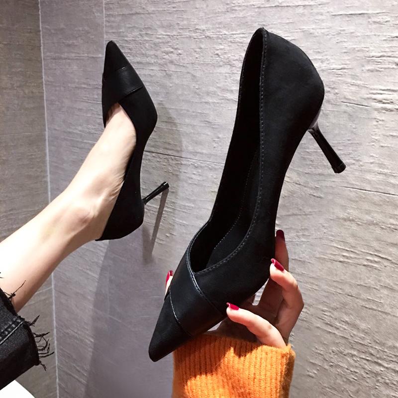 2020春季新款尖头鞋百搭仙女风时尚黑色职业礼仪高跟鞋女细跟单鞋