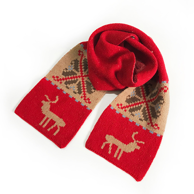 Autumn and winter girls Christmas thickened knitted scarves big children girls students Warm Embroidered elk scarf versatile Bib