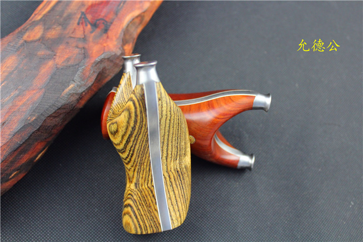 赞比亚小叶紫檀黄金檀小胖飞虎贴片弹弓钛合金tc21户外把玩实用弓