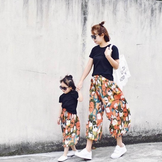 新款夏季童装宽松儿童哈伦裤母子母女装旅游度假装韩2018亲子套装