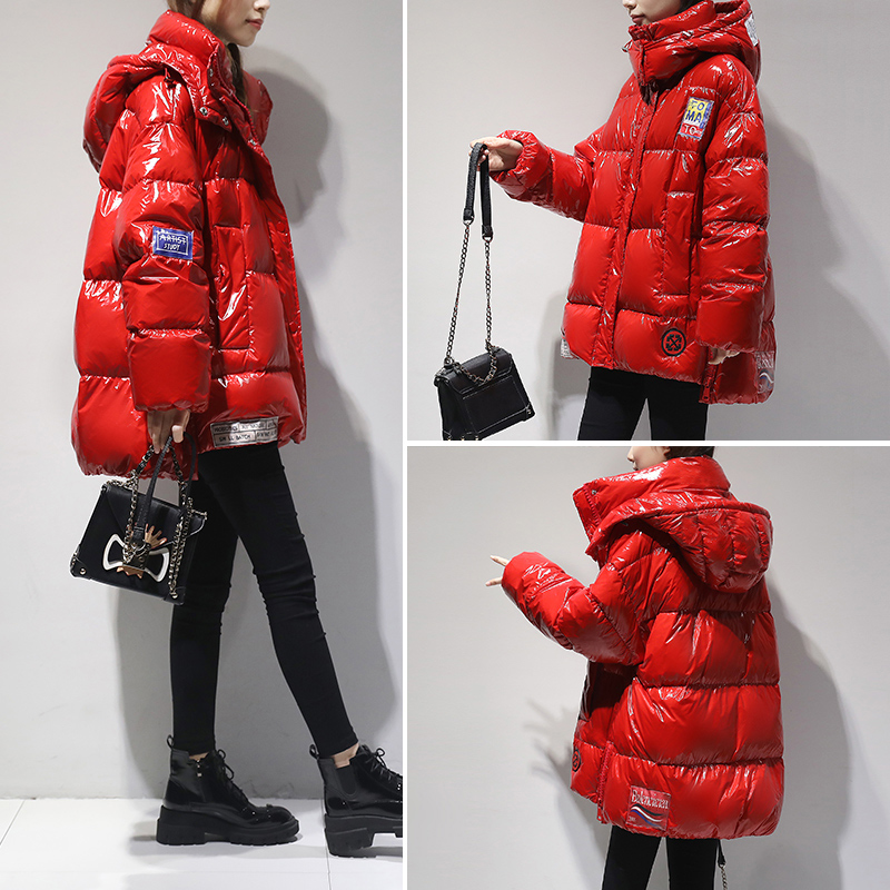Bright face down jacket womens short 2020 winter new Korean fashion hooded small white duck down thickened coat