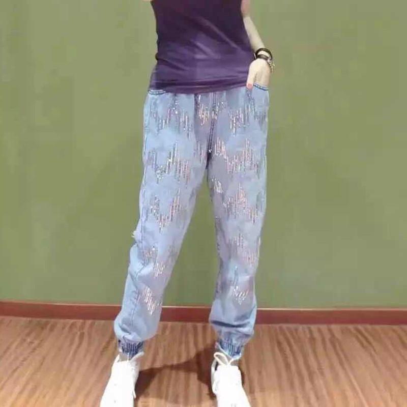 Sequin jeans womens 2020 spring European goods elastic waist hole loose leg tied radish dad nine point pants fashion