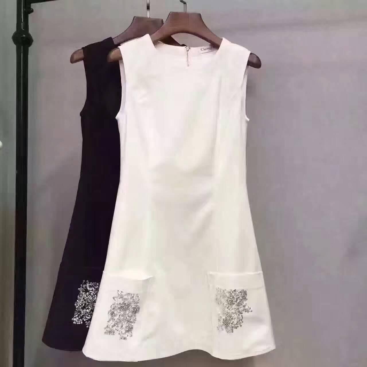 2018女装新款 倪妮明星同款白色口袋钉珠背心连衣裙A字小白裙女夏