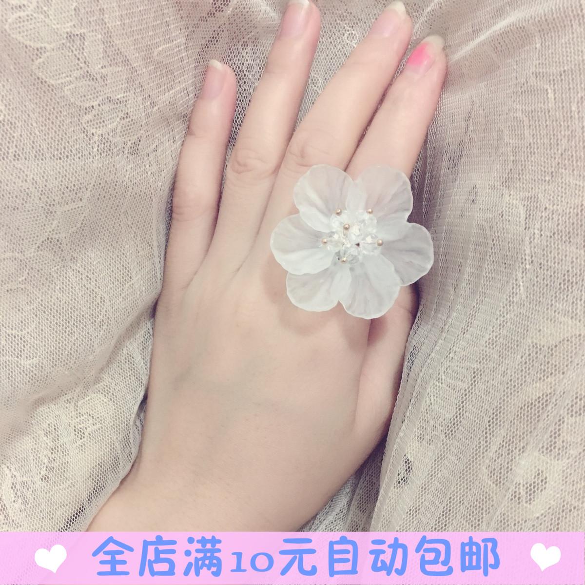 韩国超仙手作淑女气质透明花瓣花朵开口戒指女韩版甜美指环气质