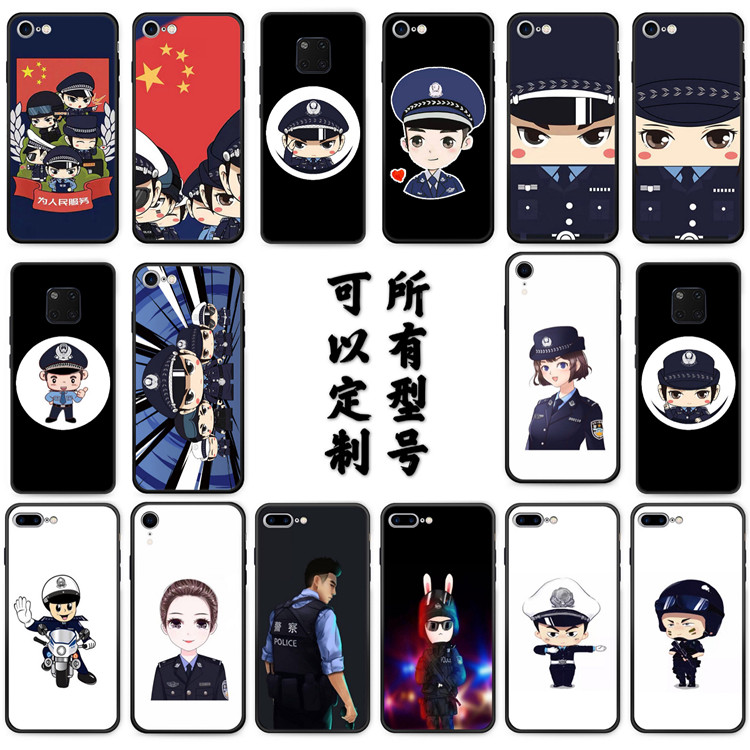 Applicable to Huawei mate30pro mobile phone case 20x5g 8 / 9 / 10 silicone police alert cartoon police
