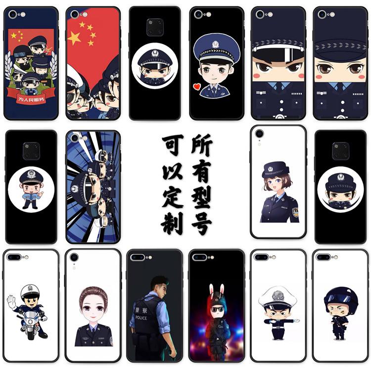 适用红米K20手机壳k30pro6全包套钢化玻璃套警察警方提醒卡通小警