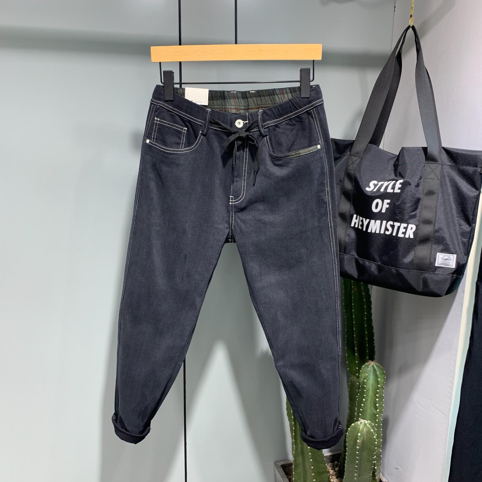 AVH素颜2019秋季新款男士简约黑色松紧腰小脚弹力修身显瘦牛仔裤