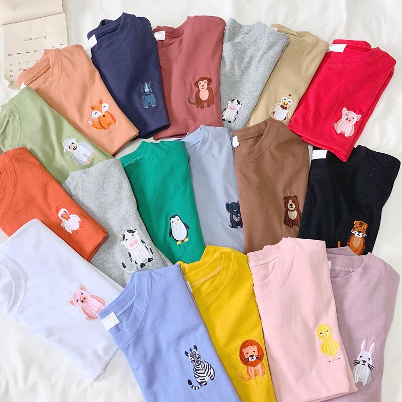 实拍纯棉刺绣新款短袖t恤女宽松超火cec上衣17色可选