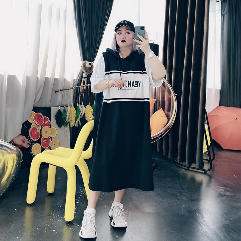 2021夏装新款大码女装韩版200斤胖MM时尚连帽卫衣裙连衣裙