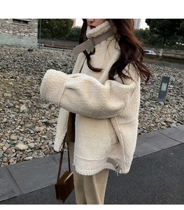 chic羊羔毛2020冬季新款韩版棉袄加厚机车棉服短款棉衣毛毛外套女,女装短外套,旭辉服饰