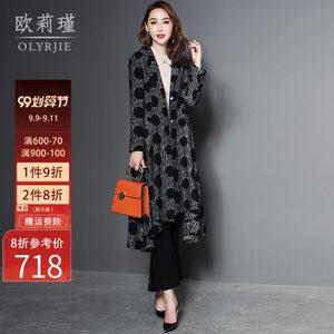 秋冬季外套女2020新款长款过膝宽松燕尾大摆复古风衣大衣时尚洋气