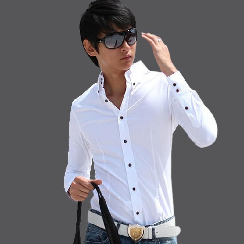 韩版修身男士青春休闲纯白色长袖衬衫 衬衣男抗皱免烫小高领寸衫