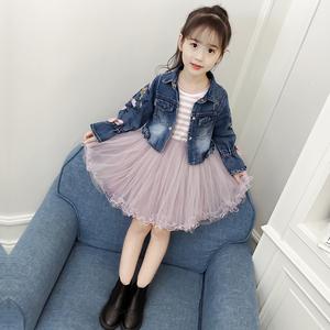 女童春装套装裙2020新款韩版条纹纱裙洋气牛仔短外套连衣裙两件套