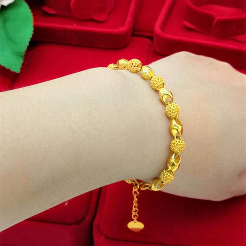香港新款正品18K黄金手链女款转运珠99足金24K黄金手镯不掉色特价