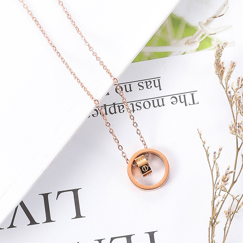 Ka Jia screw love eternal ring double ring necklace