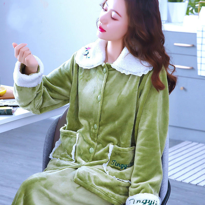 新款加厚加绒睡衣秋冬款长袖家居服