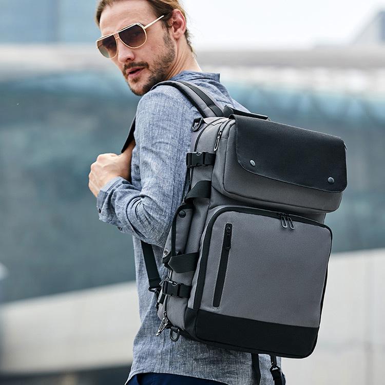 欧美新款2020男士商务双肩包时尚休闲出差旅行电脑背包大容量书包