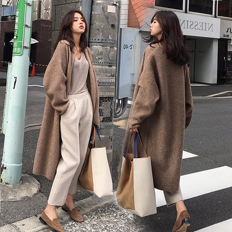 Sweater Jacket Womens loose and lazy style long sleeve retro Korean casual versatile knitting cardigan mid length autumn and winter
