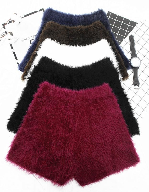 Autumn and winter Korean tweed Plush high waisted Mohair shorts, thickened and versatile, slim casual shorts, warm boots and pants for women