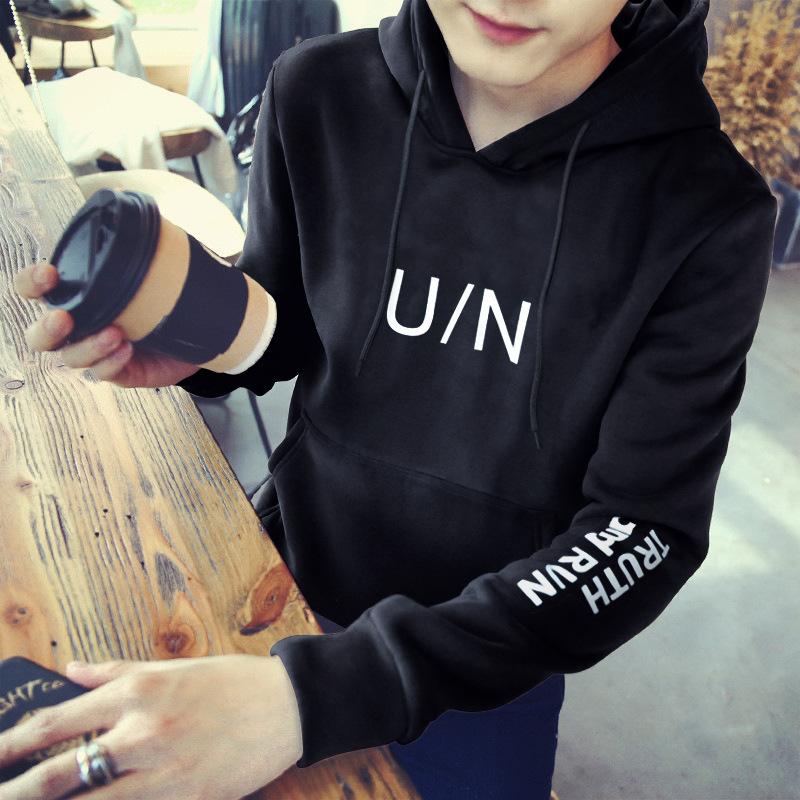 冬季韩版男装新款男式连帽卫衣潮流修身男士帽衫带帽运动外套
