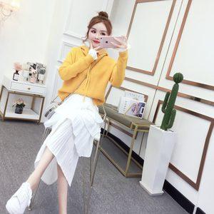 套装休闲职业两件套裙2019早秋装新款韩版卫衣配蛋糕半身裙子女装