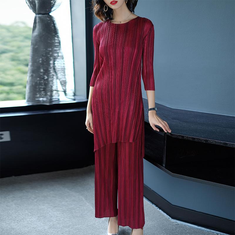 Europe and the United States sanzhai fold fashion suit 2020 stripe irregular spring dress show thin straight pants pants women