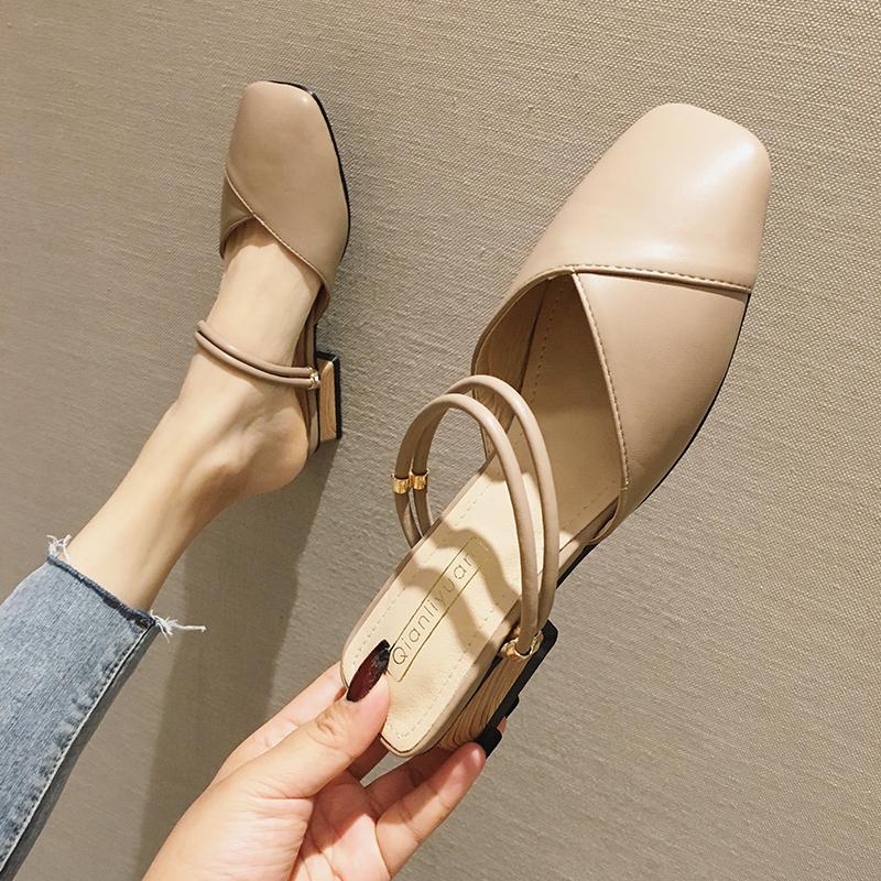 包头凉鞋女2019新款韩版奶奶鞋女复古百搭中跟玛丽珍鞋女粗跟单鞋