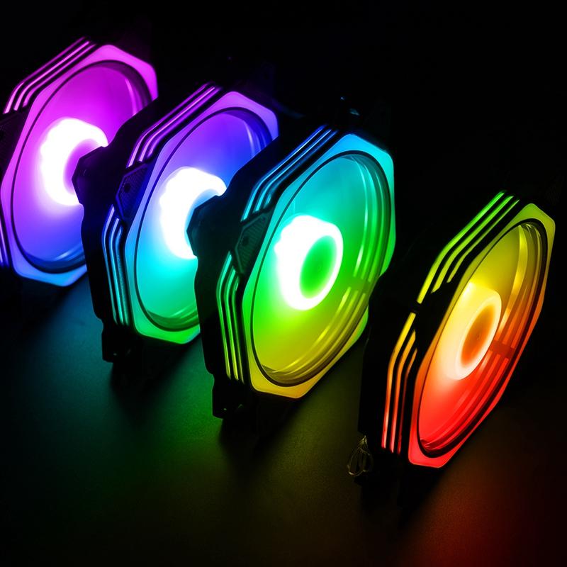 台式主机电脑机箱风扇12cm极光RGB日食led变色双光圈水冷静音散热