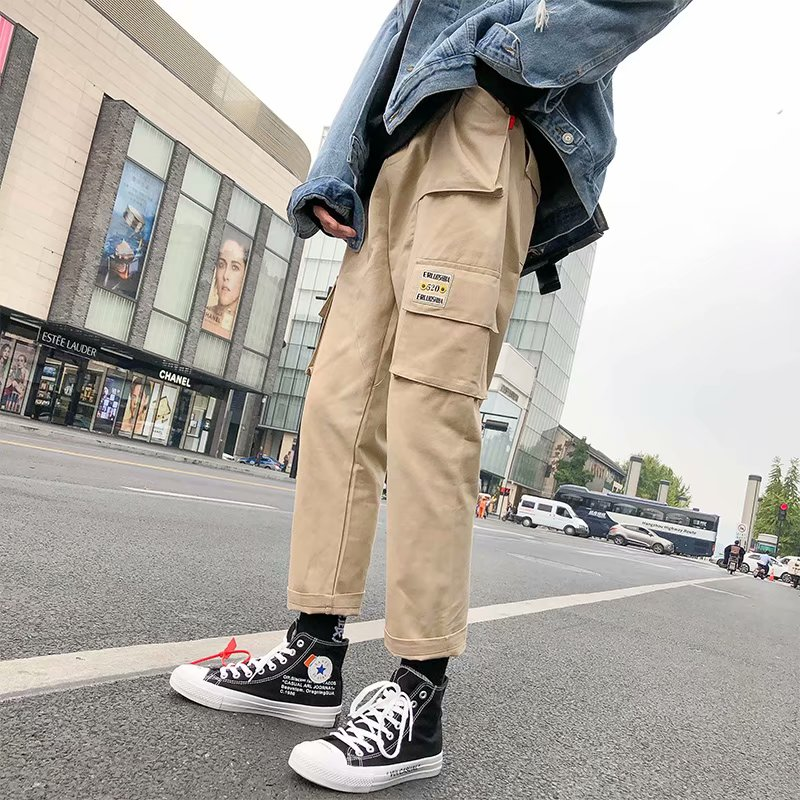 Overalls mens fashion brand Yu wenle port style loose Harem Pants winter chic casual pants sports retro straight