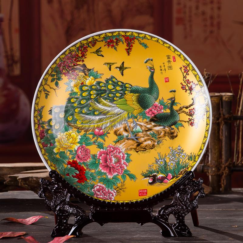 热卖新中式家居饰品玄关装饰盘工艺品陶瓷器电视柜酒柜客厅摆件