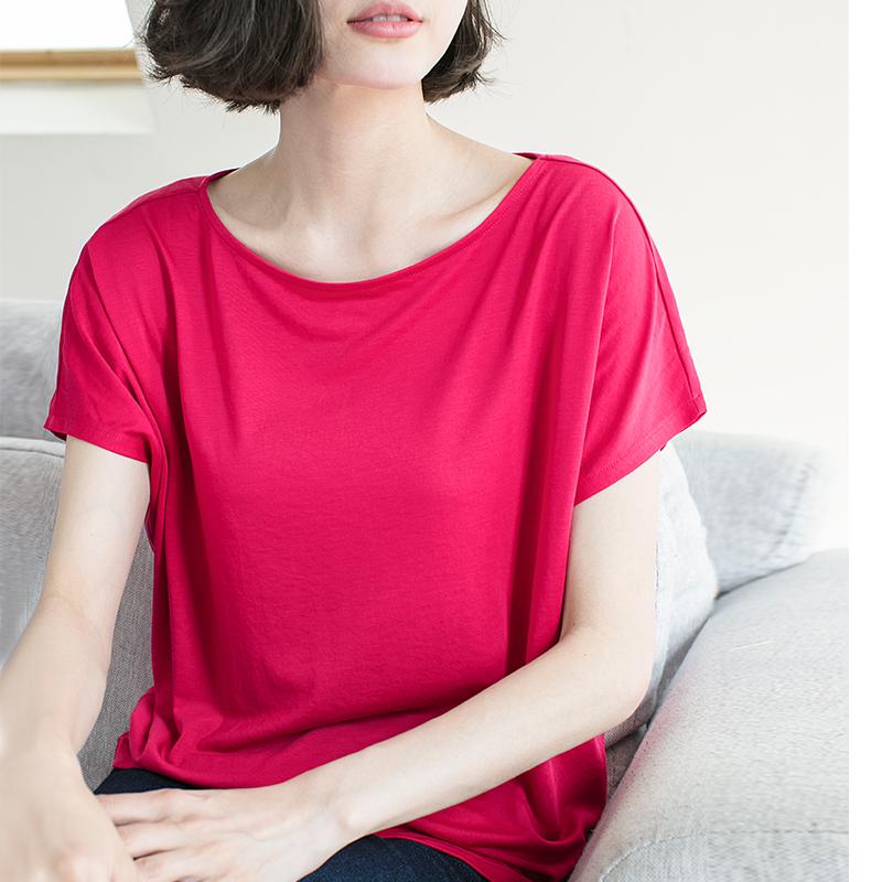刺锦夏装新款简约宽松大码胖mm半袖上衣莫代尔舒滑纯色短袖t恤女