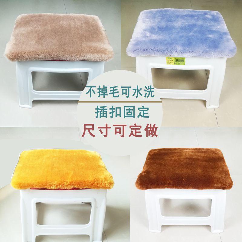 小垫子可爱坐垫学生长方形冬季毛绒教室椅子垫子带绑带屁垫子椅垫