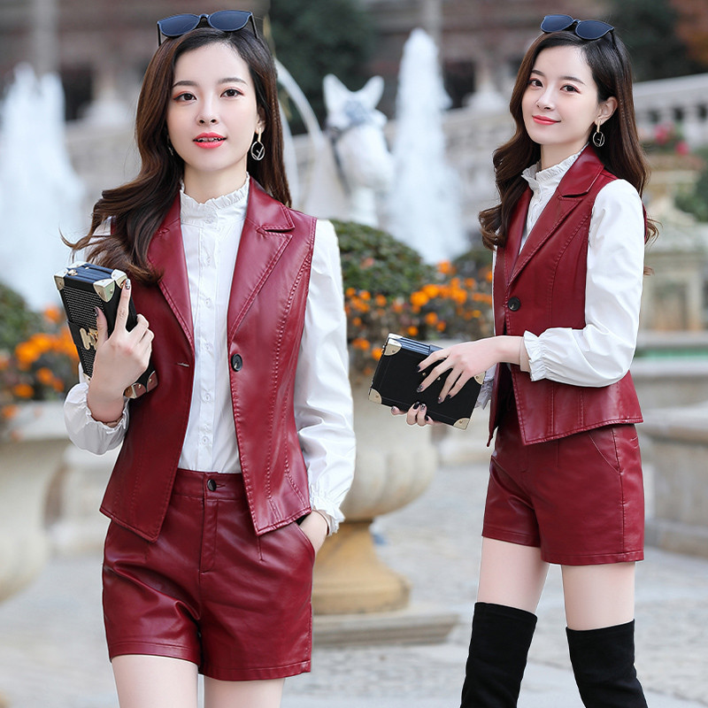 New Haining leather three piece suit womens slim short sheep leather jacket with ruffle collar