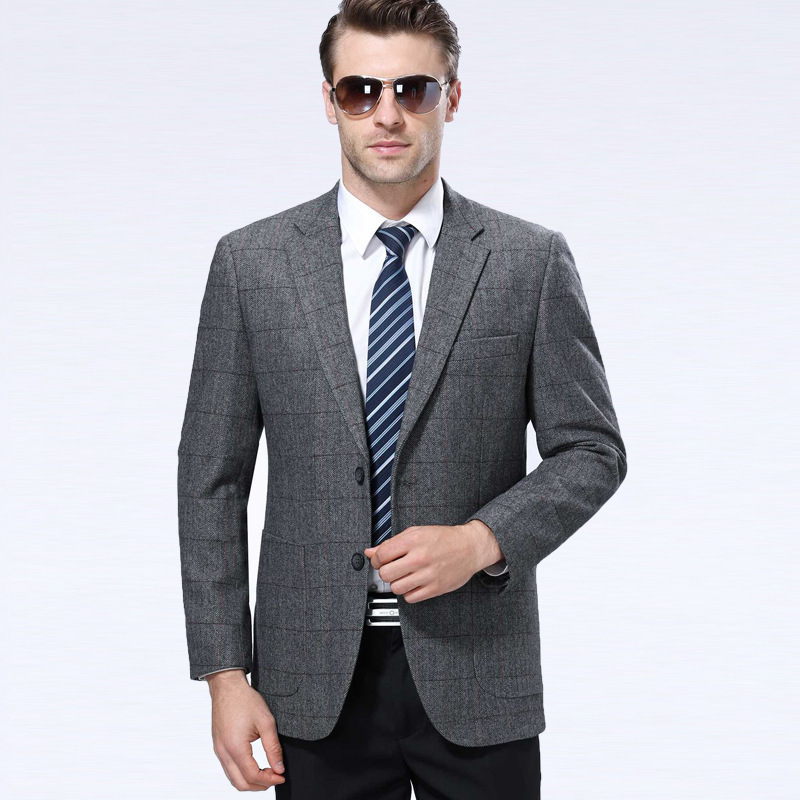 One hair generation mens suit autumn and winter fashion leisure middle-aged wool single suit plaid coat Long Sleeve routine