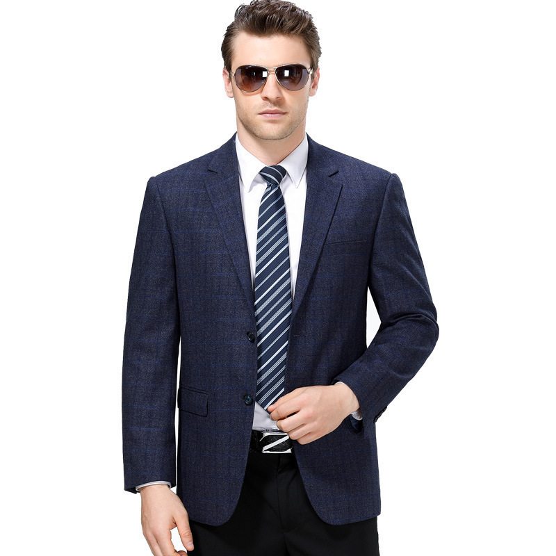Limited autumn and winter mens suit fashion business middle aged wool single suit plaid coat