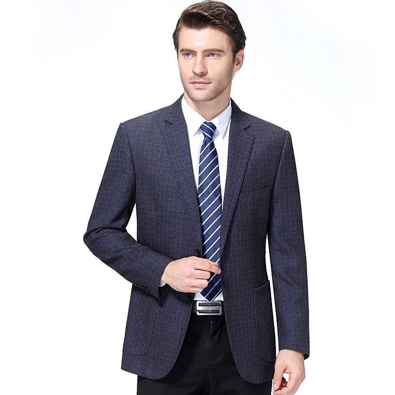 男士休闲西装中年男上衣外套男爸爸秋季单件男式西服一粒双排扣
