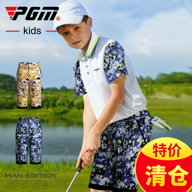 New limited edition genuine! Golf apparel kids Golf Shorts Boys short sleeve T-shirt summer PGM