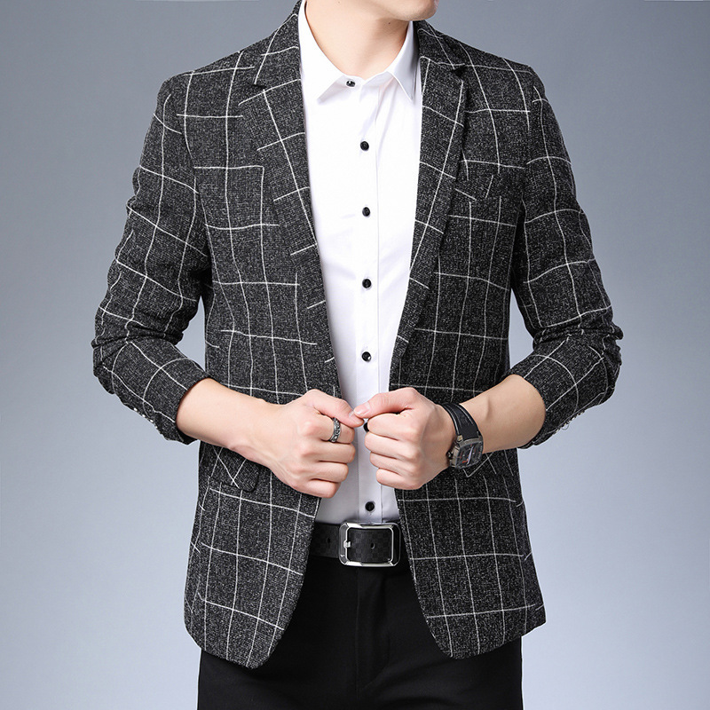 Limited autumn mens casual suit mens Korean printed Plaid suit youth fashion extra wide