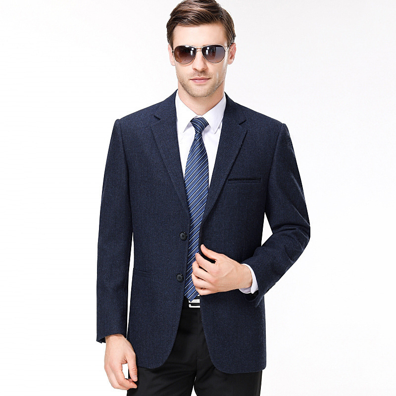 Autumn and winter mens suit fashion business middle aged wool single suit solid color coat one hair substitute one double breasted
