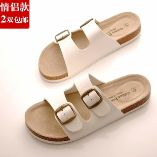 Couple new summer sandals men sandals word drag slippers tide casual and comfortable flat leather sandals cork