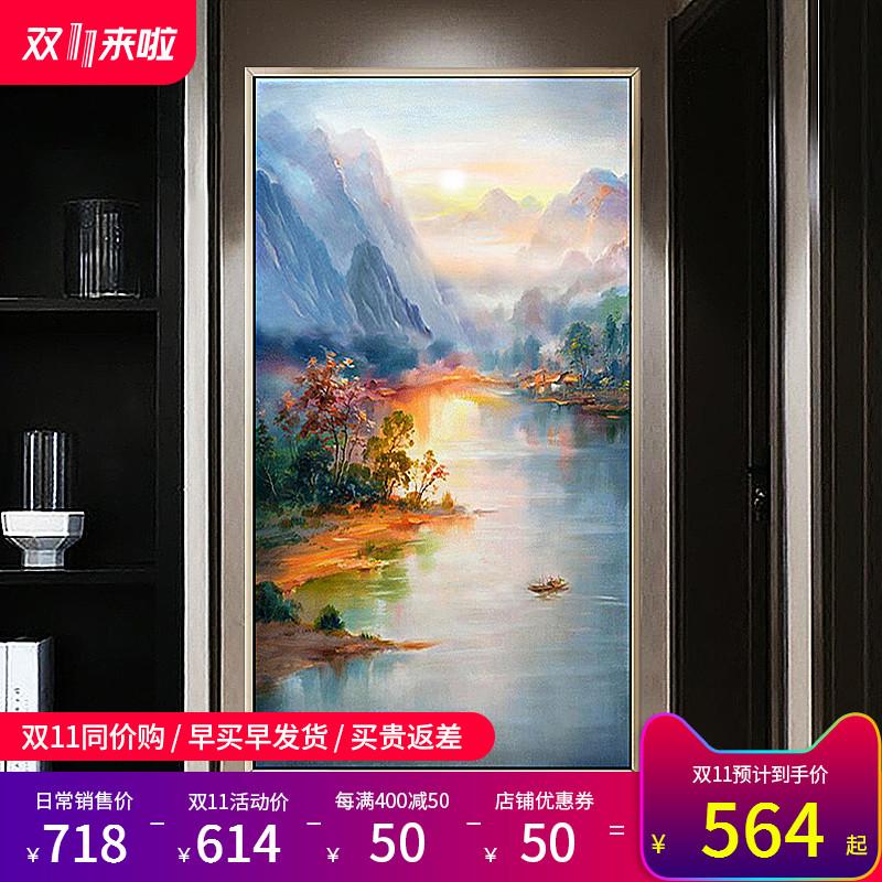 纯手绘油画简约现代新中式客厅玄关竖版挂画风景山水抽象装饰画