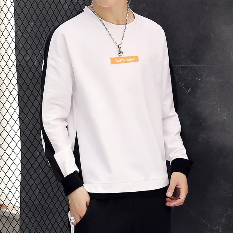 超爆款W9818P35 秋季新款圆领卫衣男宽松长袖T恤潮流男生上衣