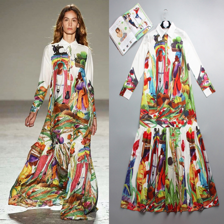 Europe and America 2020 autumn new womens long sleeve temperament printed dress shirt collar skirt casual elegant long skirt