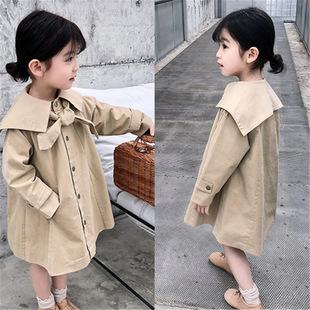 3女童韩版4 5中长款洋气7岁风衣