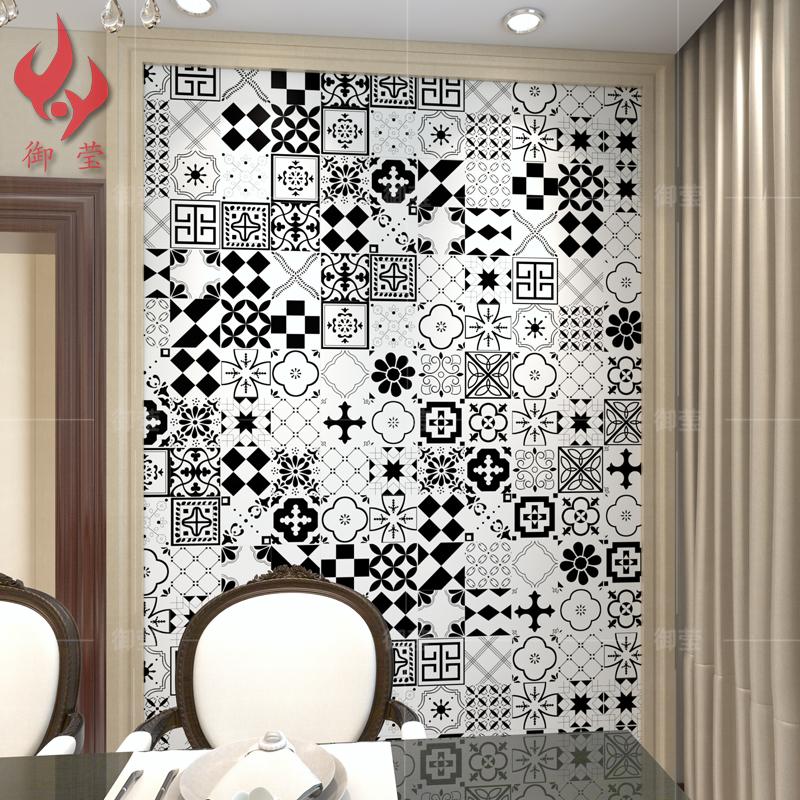 Черно-белое вчетверо цветок кирпич 300 античный гостиная кирпич ванная комната керамическая плитка лейтмотив ретро искусство цветы кирпич