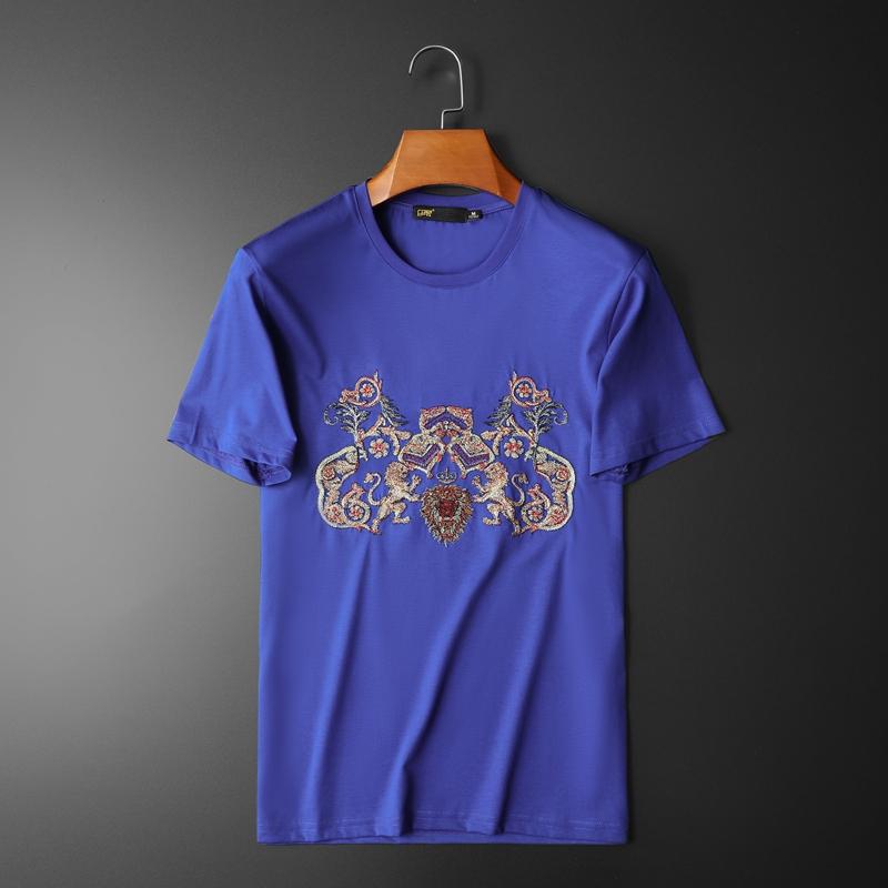 020新款夏装高2品质双丝光棉男士短袖T恤 D320 -26455- P70/蓝色