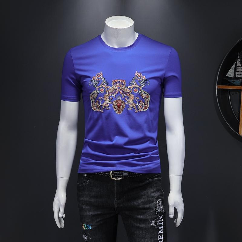 2020新款夏装高品质双丝光棉男士短袖T恤 D320 -26455- P70/蓝色
