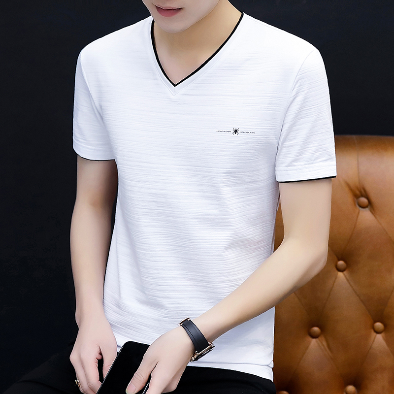 Spring and summer 2020 popular Korean new mens T-shirt fashion brand cotton large mens short sleeve T-shirt solid color sports