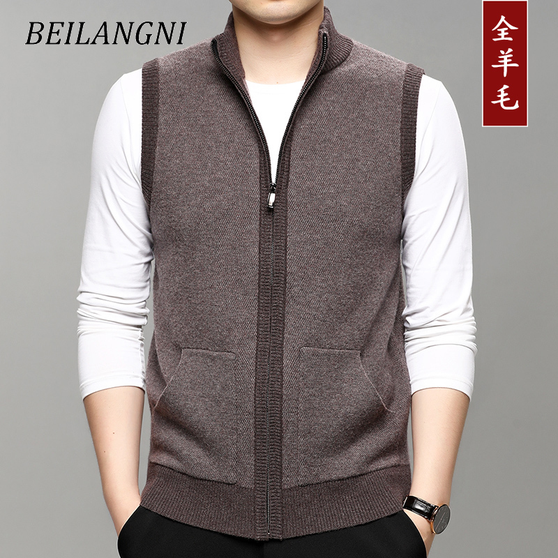 40-43-45-47-50 years old high grade autumn new product pure wool knitted vest mens stand collar zipper sleeveless sweater